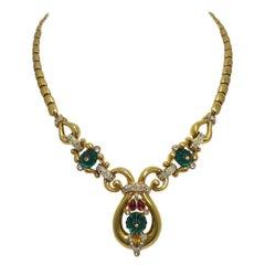 Vintage Famous Book Piece Signed Trifari Mogul Drop Necklace