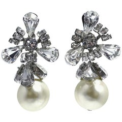 Vintage 1960s Faux Pearl & Crystals Drop Earrings
