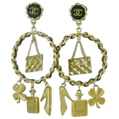 Rare Vintage Chanel Famous Charms Dangling Earrings