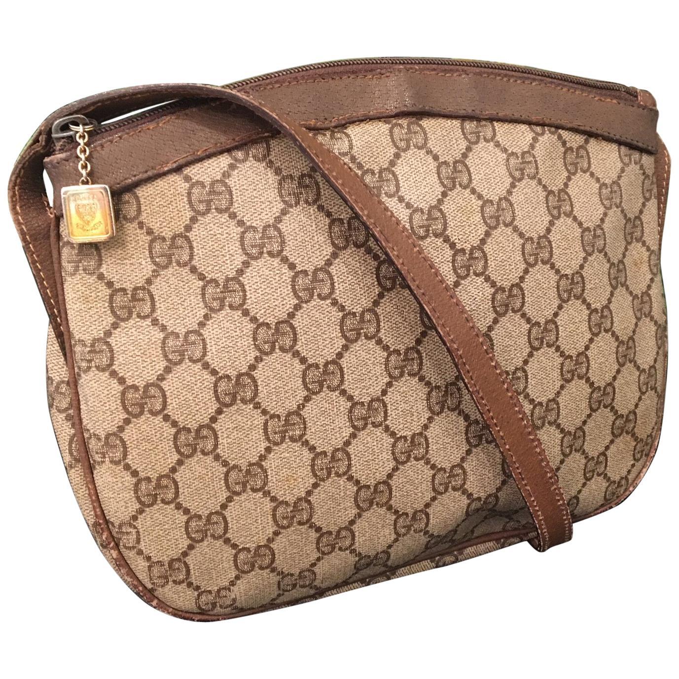 "Vintage Gucci 1980s Signature ""GG"" Crossbody Handbag"