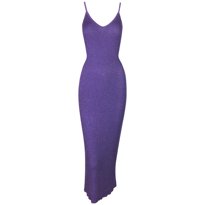 S/S 1996 Chanel Metallic Purple Knit Deep V Wiggle Dress