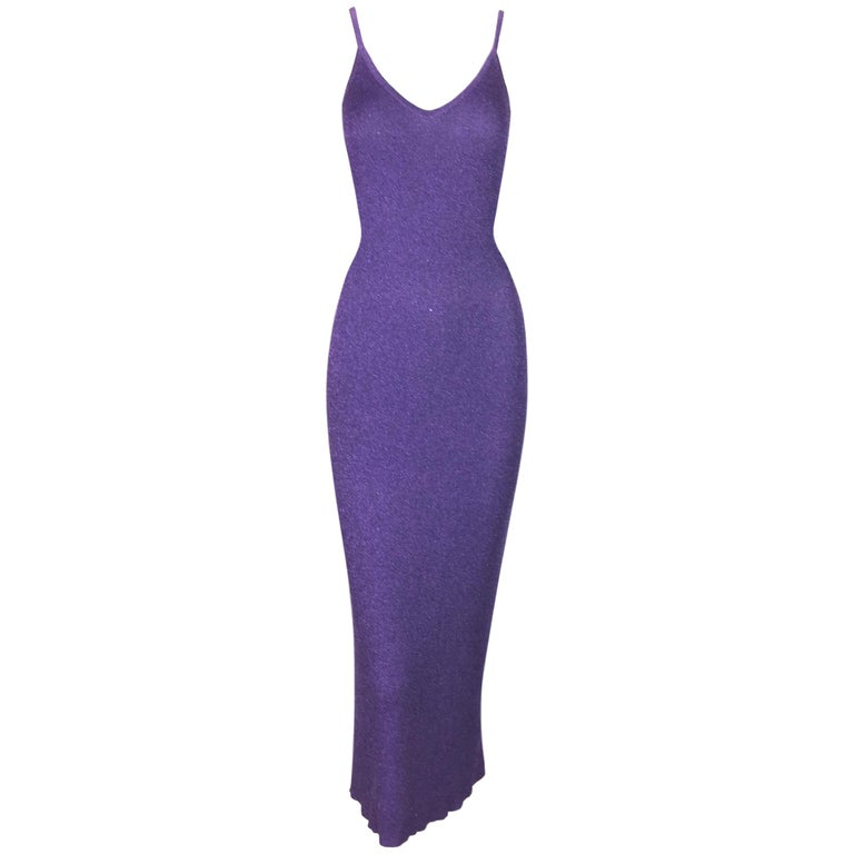 S/S 1996 Chanel Metallic Purple Knit Deep V Wiggle Dress For Sale