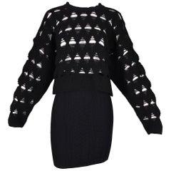 S/S 1994 Gianni Versace Black High Waist Mini Skirt & Cut-Out Knit Crop Sweater