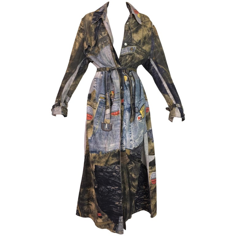 F/W 2001 Christian Dior John Galliano Diorella Print Velvet Suede Coat Jacket For Sale