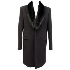 New Versace Black Wool & Cashmere Coat With Mink Fur for Men