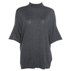 Brunello Cucinelli Grey Cashmere Lurex Knit Drop Shoulder Turtleneck Sweater S