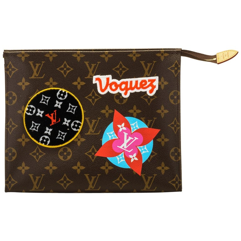 New in Box Louis Vuitton Limited Edition Stickers Pouchette Bag For Sale