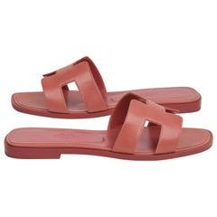 Hermes Sandal Flat Oran Rare Blush Pink Chevre 36 / 6 new