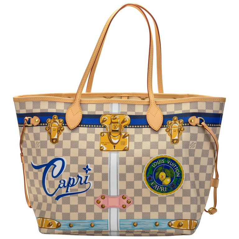 New in Box Louis Vuitton Limited Edition Capri Neverfull Damier Azur Bag For Sale