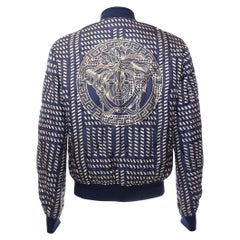 NEW VERSACE BLUE GOLD MEDUSA PRINT QUILTED 100% SILK JACKET for MEN
