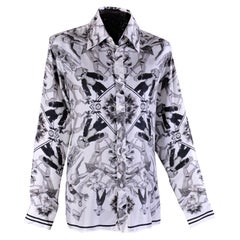 NEW VERSACE 100% SILK SHIRT in ICONIC BLACK and WHITE PRINT for MEN