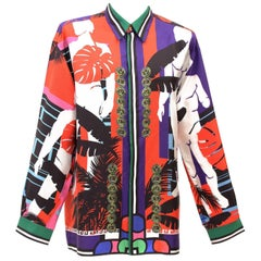 BRAND NEW VERSACE CUBA PRINT 100% SILK SHIRT for MEN