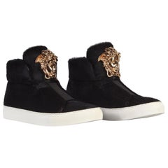 New VERSACE Palazzo Black Calf hair Sneakers with gold Medusa