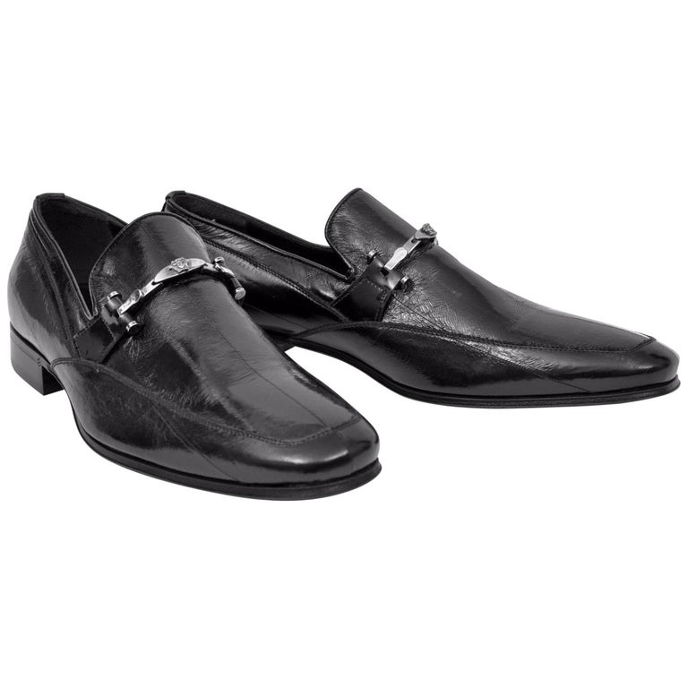 NEW VERSACE BLACK EEL SKIN LOAFERS for MEN For Sale at 1stdibs a3e341e8420f