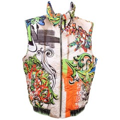 VERSACE COLLECTION BAROCCO GRAFFITI SLEEVELESS GOOSE DOWN JACKET VEST for MEN