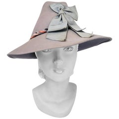 1930s Soft Grey/Blue Fur Felt Hat with Bow