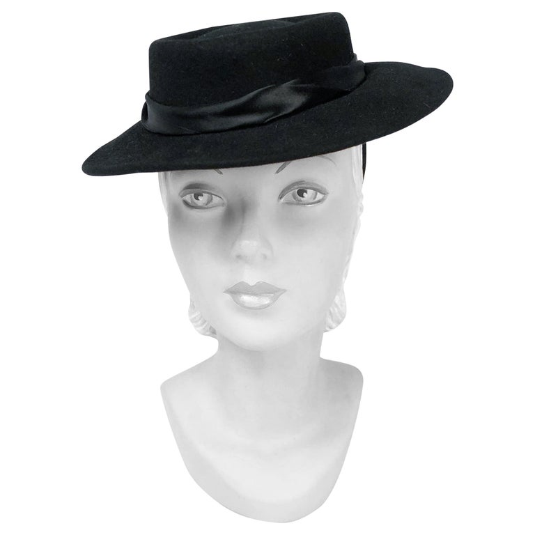1940s Black Cashmere Hat With Silk Satin Band and Rhinestone Accent For Sale