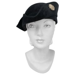 1930s Black Cashmere Felt Pirate Hat with Sterling Silver Accent