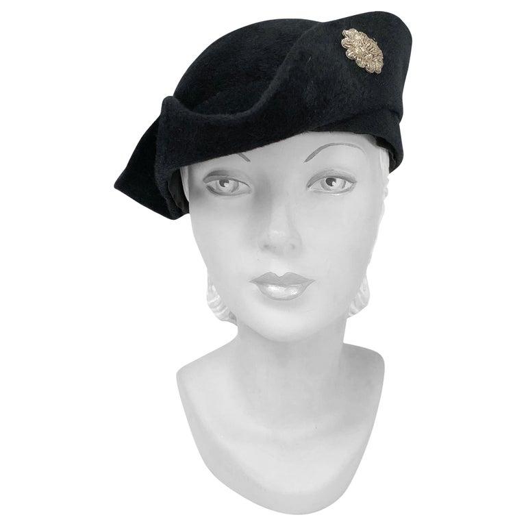 1930s Black Cashmere Felt Pirate Hat with Sterling Silver Accent For Sale