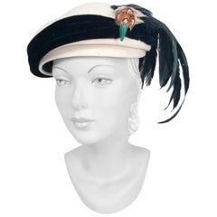 1950s Cream Hat with Black Velvet Band and Feathered Bird Accent