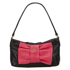 Prada Black Leather Bow Baguette