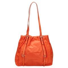 Prada Orange Nylon Shoulder Bag