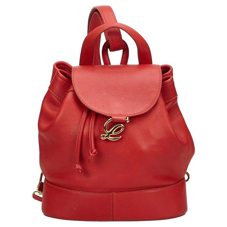 e74e13126b15 Loewe Red Leather Drawstring Backpack at 1stdibs