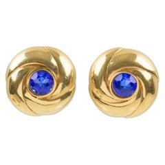 Courreges Paris Signed Gilt Metal and Blue Rhinestone Clip on Earrings