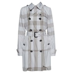 Burberry Grey Checked Short Belted Double Breasted Trench Coat M