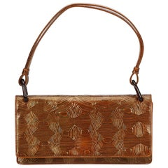 Prada Brown Embossed Leather Baguette