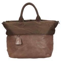 Prada Brown Reversible Nylon Tote Bag