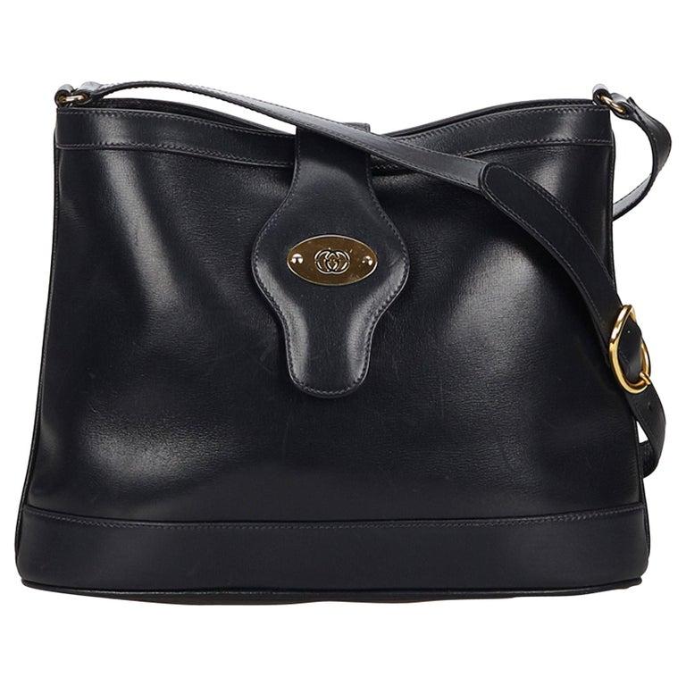 9a6518b0200391 Gucci Black Leather Shoulder Bag at 1stdibs