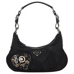 Prada Black Nylon Beaded Heart Shoulder Bag