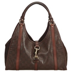 Gucci Brown Guccissima New Jackie Leather Shoulder Bag