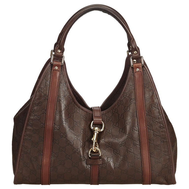 670e764bd361 Gucci Brown Guccissima New Jackie Leather Shoulder Bag at 1stdibs