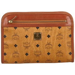 MCM Brown Visetos Leather Clutch