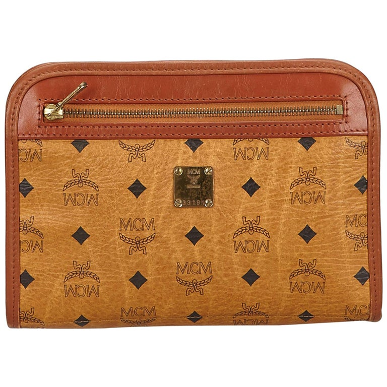 MCM Brown Visetos Leather Clutch For Sale