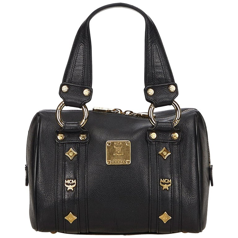 627843987 MCM Black Leather Gold Studded Handbag at 1stdibs