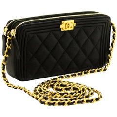 MINT! CHANEL Boy Black Caviar WOC Wallet On Chain Zip Shoulder Bag