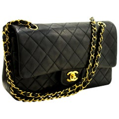 """CHANEL 2.55 Double Flap 10"""" Chain Shoulder Bag Black Quilted Lamb"""