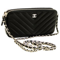 CHANEL V-Stitch Lambskin WOC Wallet On Chain Shoulder Bag Black