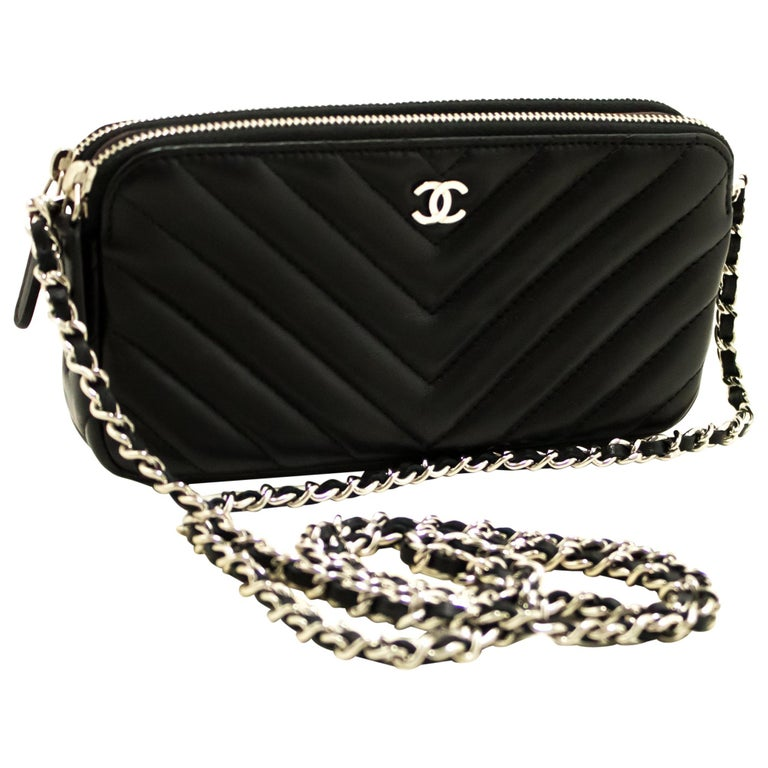 75afa056bc571c CHANEL V-Stitch Lambskin WOC Wallet On Chain Shoulder Bag Black For Sale