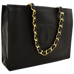 CHANEL Jumbo Large Chain Shoulder Bag Lambskin Black Leather Tote