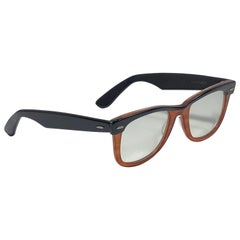 New Ray Ban Wayfarer 1980's Classic Black & Amber Light Lens B&L USA Sunglasses