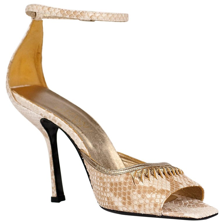 5afffd77d4e F W 2000 Ad Campaign Vintage GIANNI VERSACE Nude Python Shoes 38.5 - 8.5 New