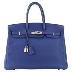 Hermes Birkin Handbag Blue Electric Togo with Palladium Hardware 35