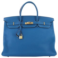 Hermes Birkin Handbag Mykonos Clemence with Gold Hardware 40