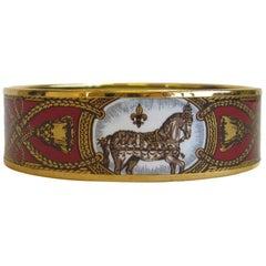 HERMES 'Grand Apparat' Enamel Bracelet in Red Color