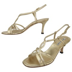 Manolo Blahnik Gold Leather Strappy Sandal Shoes Sz 37