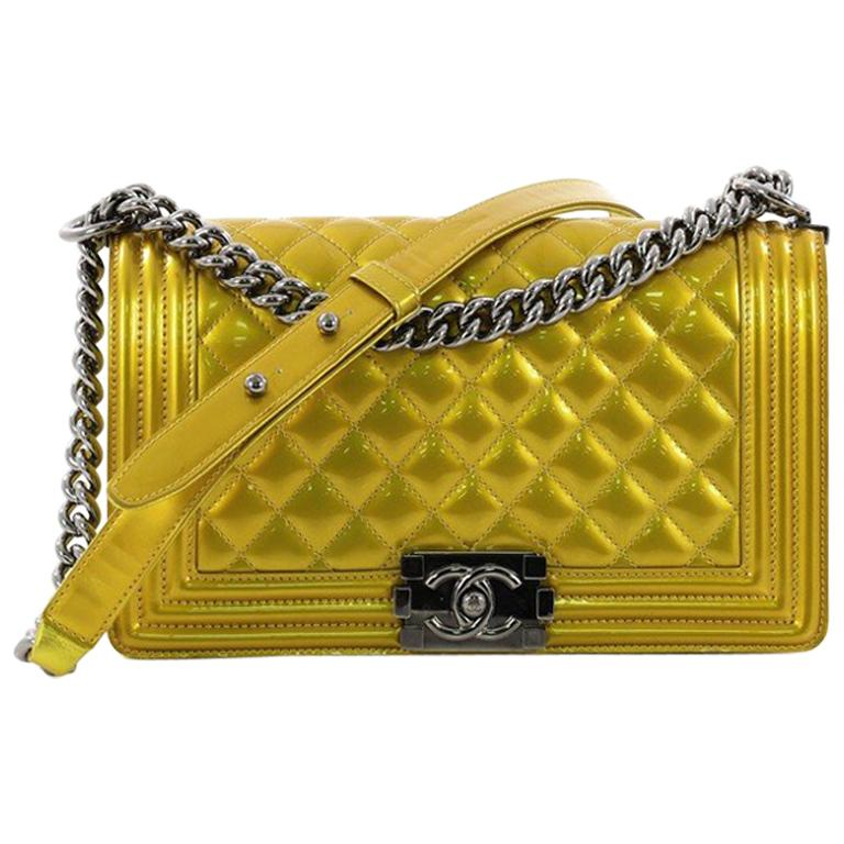 35bcafed5479 Chanel Boy Flap Bag Quilted Patent Old Medium at 1stdibs